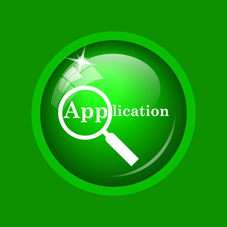 Application icon. Internet button on green background.