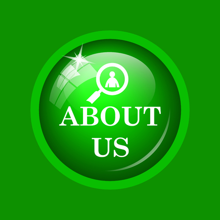 about us: About us icon. Internet button on green background. Stock Photo
