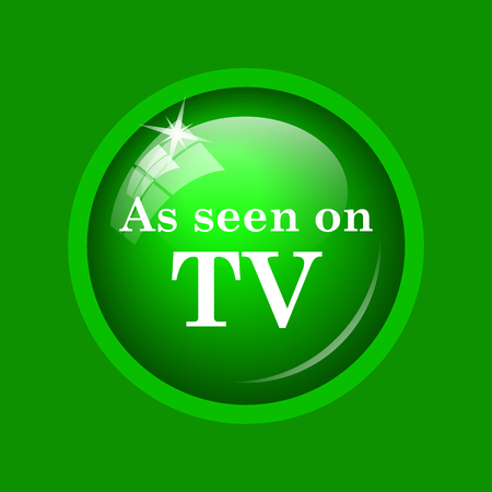 As seen on TV icon. Internet button on green background. Stock Photo