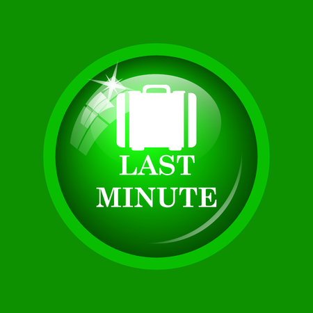 Last minute icon. Internet button on green background. Stock Photo