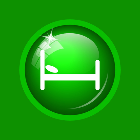 Hotel icon. Internet button on green background.