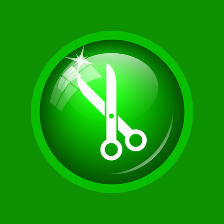 Cut icon. Internet button on green background.