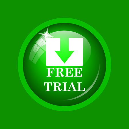 gratuity: Free trial icon. Internet button on green background. Stock Photo