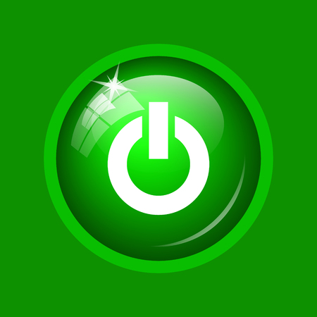 Power button icon. Internet button on green background. Stock Photo