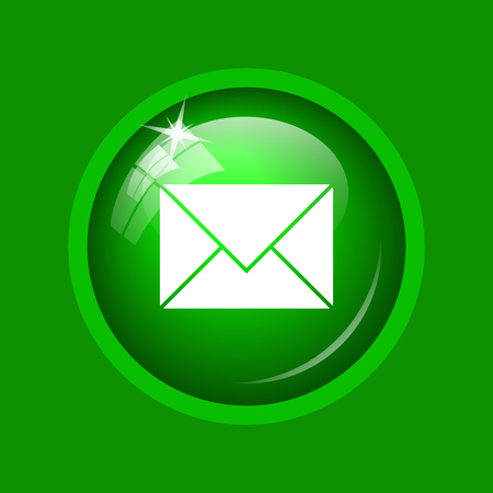 E-mail icon. Internet button on green background.