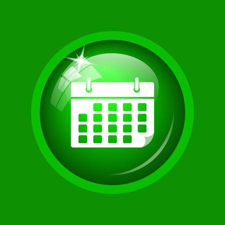 time bound: Calendar icon. Internet button on green background. Stock Photo