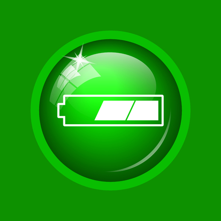 2 thirds charged battery icon. Internet button on green background. Stock Photo