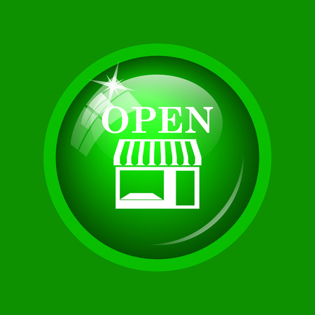Open store icon. Internet button on green background.