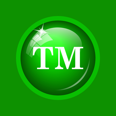 Trade mark icon. Internet button on green background.