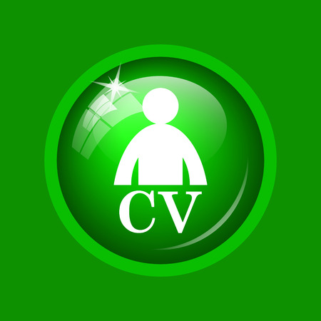 unoccupied: CV icon. Internet button on green background. Stock Photo
