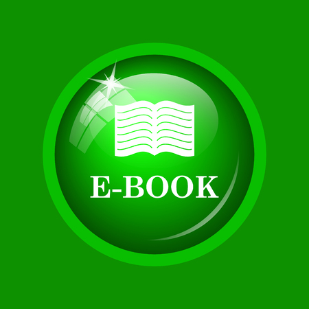 E-book icon. Internet button on green background.