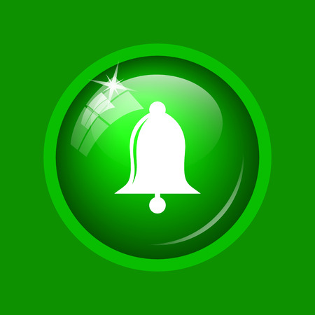 Bell icon. Internet button on green background. Stock Photo