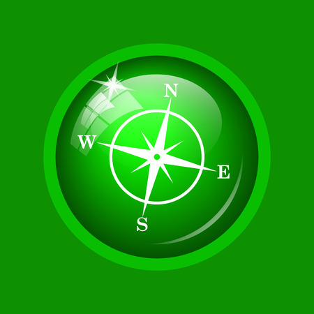geodesy: Compass icon. Internet button on green background.