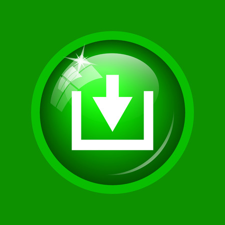 Download icon. Internet button on green background. Stock Photo