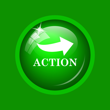 Action icon. Internet button on green background.