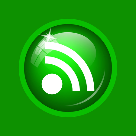 Rss sign icon. Internet button on green background. Stock Photo