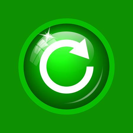 Rechargez une icône de flèche. Bouton Internet sur fond vert. Banque d'images