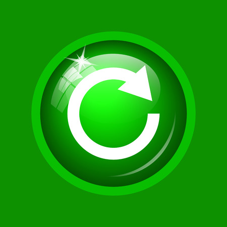 repetitive: Reload one arrow icon. Internet button on green background. Stock Photo