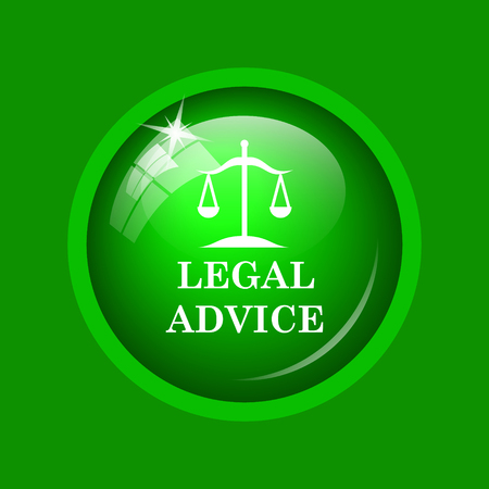 Legal advice icon. Internet button on green background.