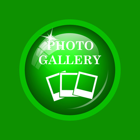 Photo gallery icon. Internet button on green background. Stock Photo