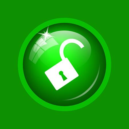 Open lock icon. Internet button on green background. Stock Photo