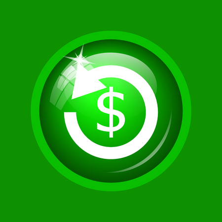 Refund icon. Internet button on green background.