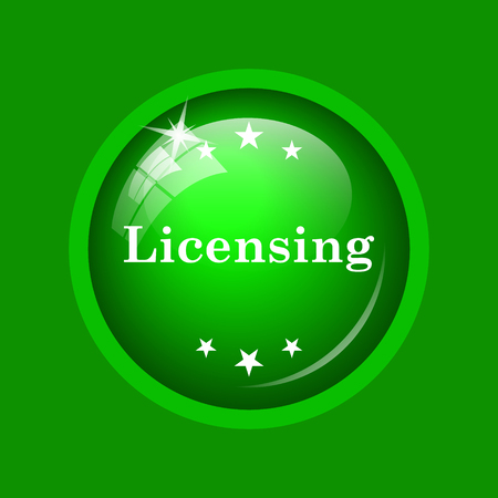 Licensing icon. Internet button on green background.
