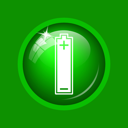 Battery icon. Internet button on green background.