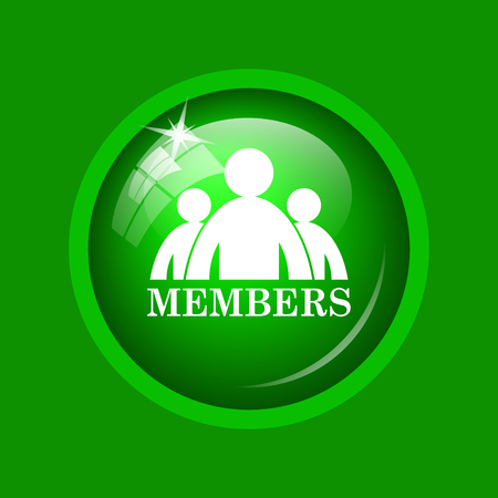 join here: Members icon. Internet button on green background.