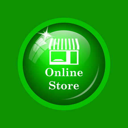 mall signs: Online store icon. Internet button on green background.