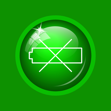 Empty battery icon. Internet button on green background.