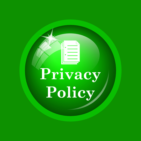 Privacy policy icon. Internet button on green background. Stock Photo