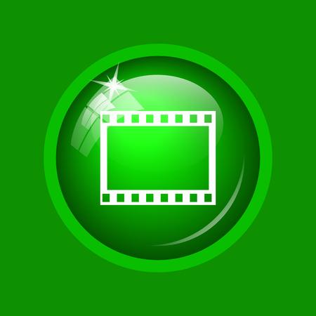 Photo icon. Internet button on green background.