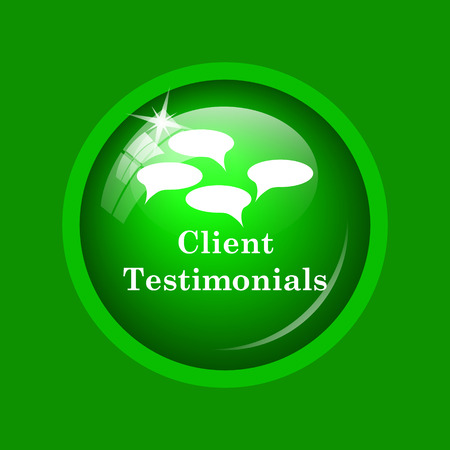 testimonials: Client testimonials icon. Internet button on green background.