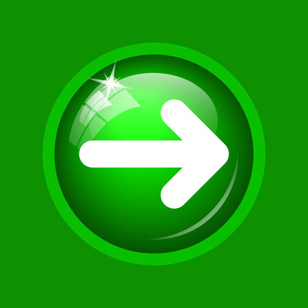 Right arrow icon. Internet button on green background.