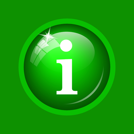 Info icon. Internet button on green background. Stock Photo