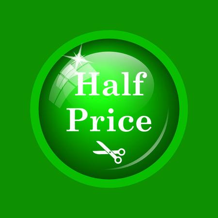 half price: Half price icon. Internet button on green background. Stock Photo