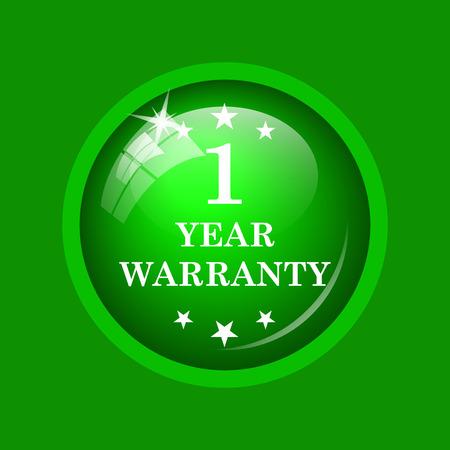 1 year warranty: 1 year warranty icon. Internet button on green background.