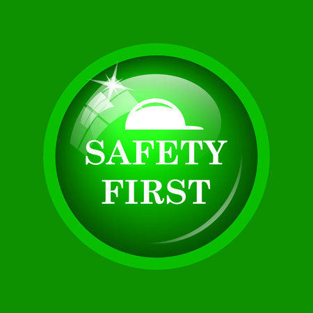 cautionary: Safety first icon. Internet button on green background.