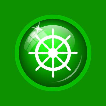 Nautical wheel icon. Internet button on green background.