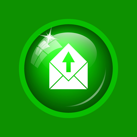 Send e-mail icon. Internet button on green background.