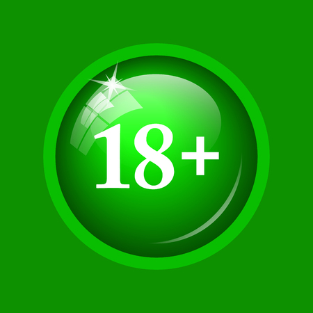 18 plus icon. Internet button on green background.