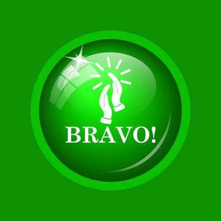 bravo: Bravo icon. Internet button on green background.