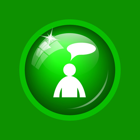Comments icon. Internet button on green background.  - man with bubble