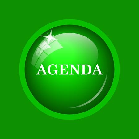 agenda: Agenda icon. Internet button on green background.