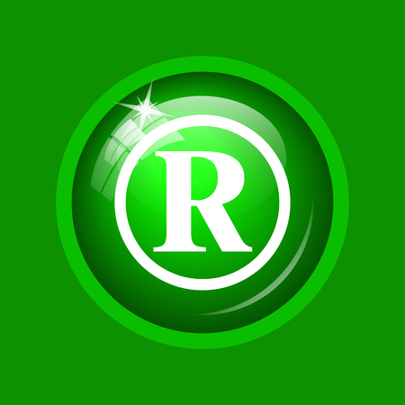 Registered mark icon. Internet button on green background.