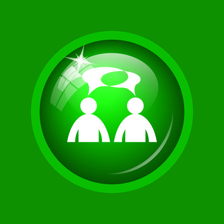 Comments - men with bubbles icon. Internet button on green background. Stock Photo