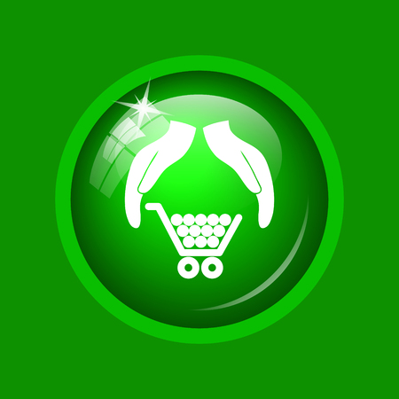 Consumer protection, protecting hands icon. Internet button on green background.
