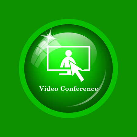 firma: Video conference, online meeting icon. Internet button on green background.