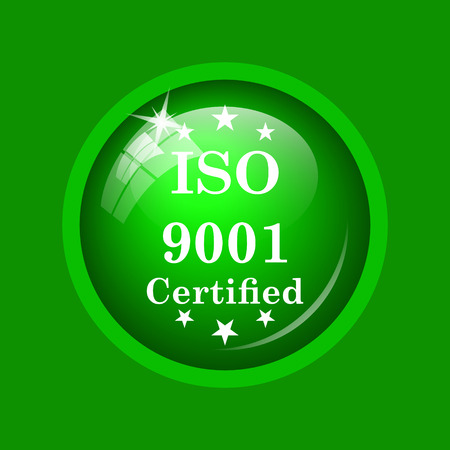 ISO9001 icon. Internet button on green background. Stock Photo